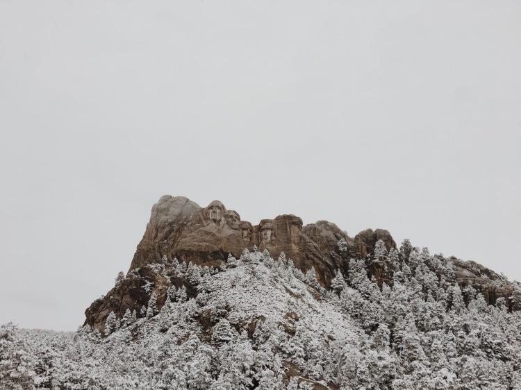 mount rushmore in snow
